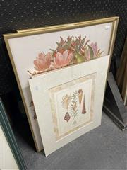 Sale 8914 - Lot 2095 - 4 Works: Two framed floral works together with a paper drawing and another