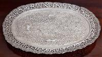 Sale 8963H - Lot 97 - An Indo-Persian  silver tray with scroll work and animals and finely pierced border (some damage to border) 37cm x 27cm