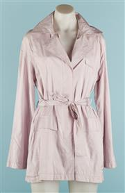 Sale 9071F - Lot 38 - A SOHO LILAC OVERCOAT; with waist tie & twin front pockets, size 10
