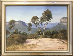 Sale 9103 - Lot 2007 - Harry Emmett On Narrow Neck, Katoomba, oil on board, frame: 36 x 46 cm, signed lower right -