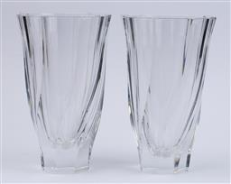 Sale 9130S - Lot 31 - A pair of Orrefors of heavy art glass vases, Height 25cm, one chipped to base