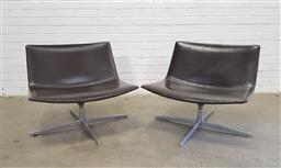 Sale 9151 - Lot 1027 - Pair of Arper chairs on swivel base in chocolate brown upholstery (h67 x w80 x d64cm)