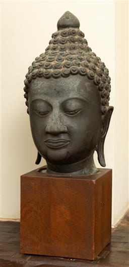 Sale 9164H - Lot 40 - An Ayutthaya style Thai bronze buddha head, total height 37cm, without base 25cm base 11.5cm