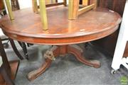 Sale 8284 - Lot 1092 - Round Timber Table on Carved Tripod Base - Damage to Leg