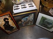 Sale 8422T - Lot 2070 - Three Framed Prints (Two of Female and Cottage Scene)