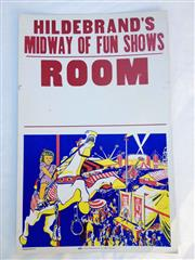 Sale 8600A - Lot 14 - Vintage Hildebrands Midway of Fun Shows Room poster, c. 1960s, H 56 x W 36cm.