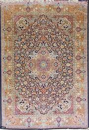 Sale 8868 - Lot 1119 - Probably Turkish Silk on Silk Carpet, with elaborate vase and floral scroll work on a black ground (290 x 181cm)