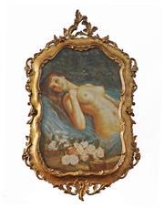 Sale 9021 - Lot 542 - Daniel Tixier (C20th) - Reclining Nude & White Roses 70.5 x 46 cm (frame: 108 x 59 x 4 cm)