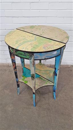 Sale 9157 - Lot 1086 - Pair of map single drawer demilune side tables (h77 x w60 x d30cm)