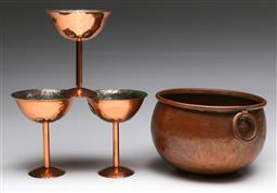Sale 9173 - Lot 98 - A copper cauldron (Dia: 18cm) together with three copper cups by Berczi