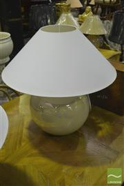 Sale 8341 - Lot 1023 - Pair of Italian Pearl Finish Table Lamps with Large White Shades (2994)