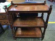 Sale 8666 - Lot 1083 - Victorian Mahogany Dumbwaiter, of three tiers on turned supports & legs