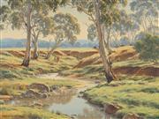 Sale 8773 - Lot 524 - Melvin Duffy (1930 - ) - Cattle Watering, Goonoo Goonoo Creek, Tamworth 1987 44 x 60cm