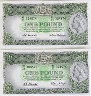 Sale 8989 - Lot 56 - Coombs And wilson 1961 Uncirculated 1 Pound Notes (Consecutive No.s)