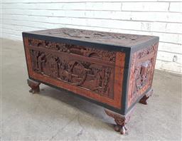 Sale 9112 - Lot 1079 - Heavily carved camphorwood chest (h:42 w:73 d:37cm)