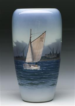 Sale 9144 - Lot 35 - Royal Copenhagen Vase depicting Sail Boat (H 24cm)