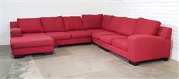 Sale 9191 - Lot 1012 - Red fabric 4 piece corner lounge (h:80 l:310 w:310cm)