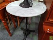 Sale 8472 - Lot 1097 - White Marble Top Table on Iron Base (60cm Dia)