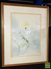 Sale 8491 - Lot 2091 - Margot Kroyer-Pedersen - Yellow Crested Cockatoo 88 x 71cm (frame size)