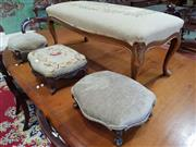 Sale 8792 - Lot 1073 - Collection of Four Stools, one larger on cabriole legs TOGETHER with a pair of Victorian footstools & another carved example, all wi...