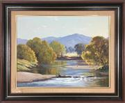 Sale 8995H - Lot 84 - Leonard Long, An Autumn Morning Minnamurra river, oil on board, 34cm x 44cm