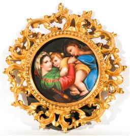 Sale 9138 - Lot 11 - Late 19th Century Florentine Porcelain Plaque, of the Madonna della Sedia, or .....Seggiola after Raphael Sanzio, in a gilt carv...