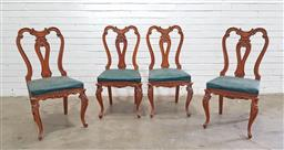 Sale 9154 - Lot 1044A - Set of four carved wood dining chairs with studded upholstered seats - 223 (h98 x w46 x d46cm)