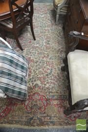 Sale 8317 - Lot 1100 - Vintage Persian Wool Carpet with red, green & blue floral arabesques on a cream field (some wear, 350 x 260cm)