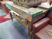 Sale 8601 - Lot 1165 - Industrial Rustic Timber Works Bench (H: 80 L: 147 D: 82cm)