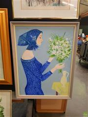 Sale 8627 - Lot 2028 - Artist Unknown - Arranging Flowers, oil on board, 78.5 x 59cm, signed Poldi lower left