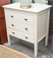 Sale 8709 - Lot 1014 - A pair of white painted three drawer bedside tables, H x 73cm, W x 66cm and D x 46cm