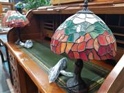 Sale 8744 - Lot 1033 - Pair of Leadlight Shade Table Lamps