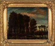 Sale 8804A - Lot 105 - C18th/ C19th century cattle by the river, oil on canvas, not signed, image size 58cm x 72cm in elaborate gilt frame
