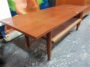 Sale 8822 - Lot 1092 - Teak Coffee Table with Rattan Shelf