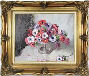 Sale 8995H - Lot 85 - Alan Douglas Baker, Still Life of Flowers, oil on board, 49cm  x 59cm in an elaborate gilt frame