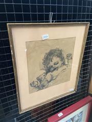 Sale 8995 - Lot 2006 - Rex Johnson Little Darling Asleep 1948 pencil on paper, 37 x 32cm, exhibition label verso