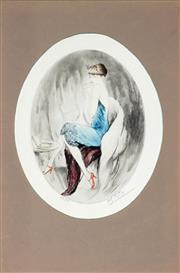 Sale 9021 - Lot 582 - Paul-Emile Felix (1851 - 1932) - Le Joli Present, c1929 23 x 17 cm (frame: 57 x 43 x 6 cm)