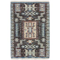 Sale 9090C - Lot 20 - Indian Aztec Design Ribbed Rug, 160x230cm, Handspun Wool
