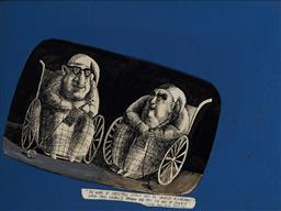 Sale 9125 - Lot 576 - Martin Sharp (1942 - 2013) - Robert Menzies and Arthur Calwell 23 x 37 cm (frame: 41 x 53 x 2 cm)