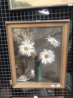 Sale 9139 - Lot 2008 - Artist Unknown (double sided) Daisies in a Green Vase & A Bust , oil on board, frame: 46 x 40 cm, unsigned