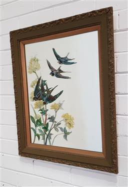 Sale 9151 - Lot 1012 - Vintage Mirror with handpainted Robins and Yellow Flowers, 67 x 57cm (frame)
