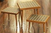 Sale 8319 - Lot 406 - A nest of 3 rectangular tables with ornate ceramic tops