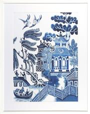 Sale 8342A - Lot 321 - A willow pattern giclee print in white box frame, 93 x 73 inc. framing (garden latticework in foreground).