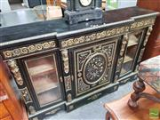 Sale 8416 - Lot 1009 - Good Napoleon III Ebonised & Pietra Dura Breakfront Cabinet, with gilt metal scroll work & caryatids, the centre door with relief in...
