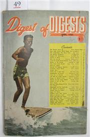 Sale 8431B - Lot 49 - Front cover of Digest of Digests April 1950 showing boy on a surfboard