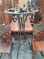 Sale 8601 - Lot 1359 - Large Wheel Top Forged Iron Candelabrum (156 x 81cm)