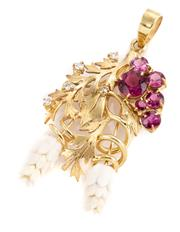 Sale 8899 - Lot 364 - A 9CT GOLD GEMSET PENDANT; stylised wisteria set with round cut purple zircons, 5 round brilliant cut diamonds totalling approx. 0.2...