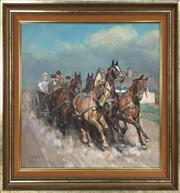 Sale 8995H - Lot 86 - Yanos Viski, The Arrivals, oil on canvas, 58cm x 65cm