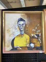 Sale 9028 - Lot 2040 - Prudence Roberts Chinese Lad 1974 oil on board 43.5 x 43.5cm (frame), signed. Norfolk Gallery label verso