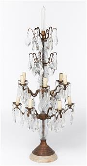 Sale 9087H - Lot 25 - A large crystal and brass table chandelier on marble base. 1.08m height